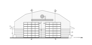 Clarke temporary fire hall drawing