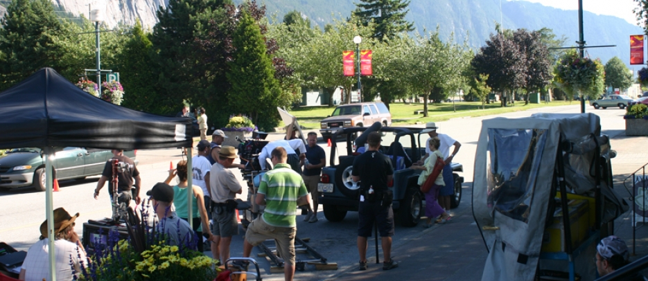 Filming in downtown Squamish.